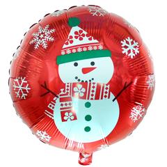 Новый год Снеговик на красном