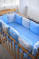 Защита в кроватку от комплекта Облачко 12 шт 03-05-01 Для мальчика Бело-голубой звёзды