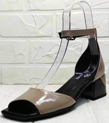Бежевые кожаные босоножки на каблуке с закрытой пяткой женские Derem 602-464-7674 Beige Black.