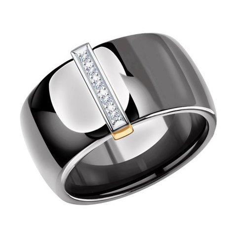 6015079 - Кольцо из золота с бриллиантом и керамическими вставками
