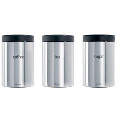 Набор контейнеров для сыпучих продуктов (1,4 л), 3 шт., Стальной полированный