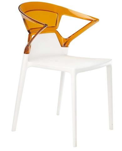 Полукресло Ego-K (Papatya). Цвет базы - белый, спинка прозрачная, цвет -  апельсин