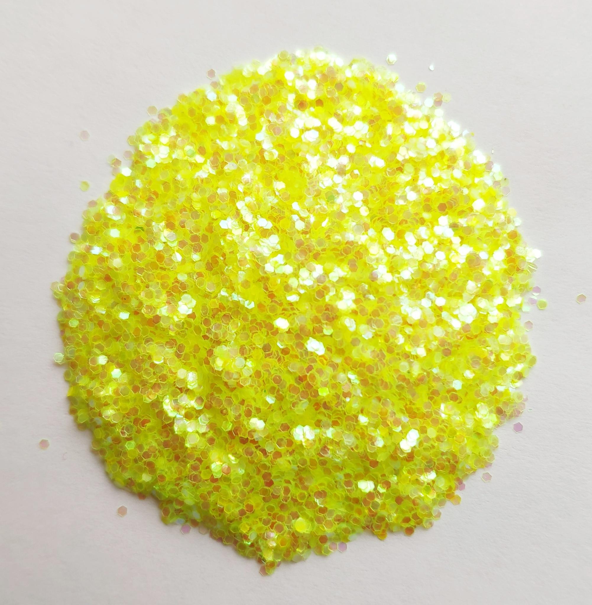Блестки для слайма крупные профи желтый неон 20мл