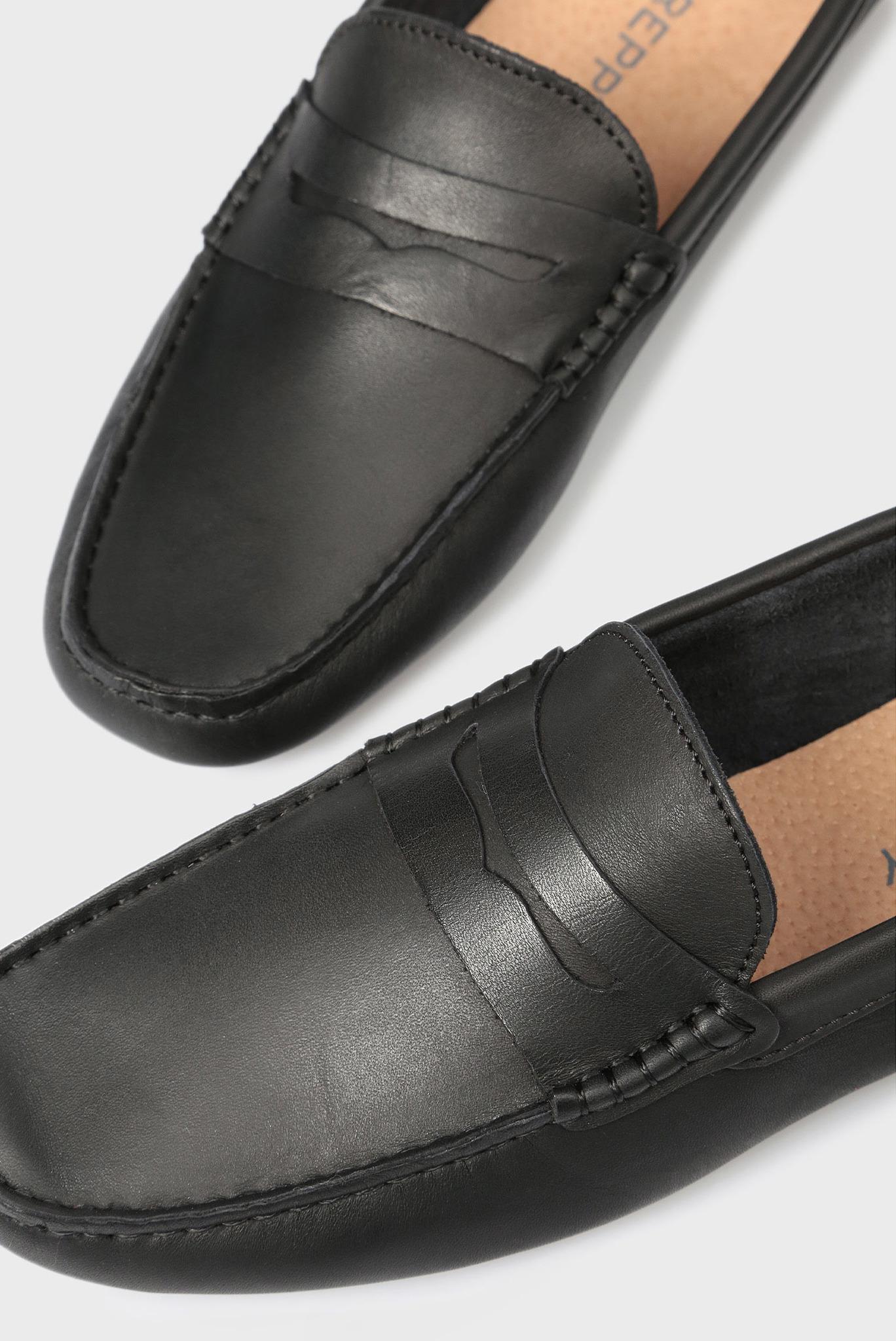 Мужские черные кожаные мокасины Preppy