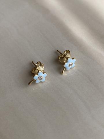 Серьги Чамомила, голубые