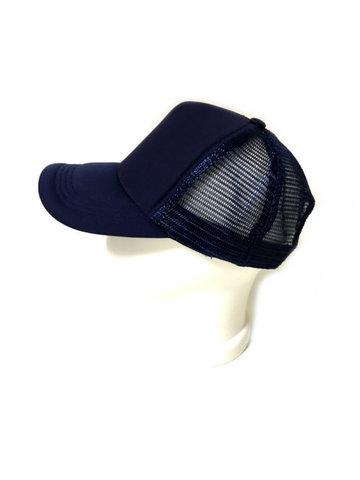 Бейсболка с сеткой, без логотипа, синего цвета