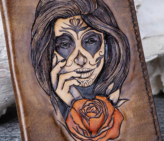 BC169 Обложка в стиле мексиканского Дня Мертвых, ручная работа фото 07