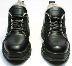 Низкие зимние кроссовки сникерсы сникерсы с мехому женские Studio27 547c All Black.
