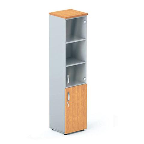 Шкаф узкий с глухими и стеклянными дверцами БОСТОН