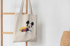 Сумка-шоппер с принтом Микки Маус (Mickey Mouse) бежевая 001