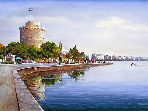Картина раскраска по номерам 40x50 Город на набережной