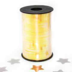 Лента (0,5 см*250 м) Северное сияние, Желтый, Голография, 1 шт.