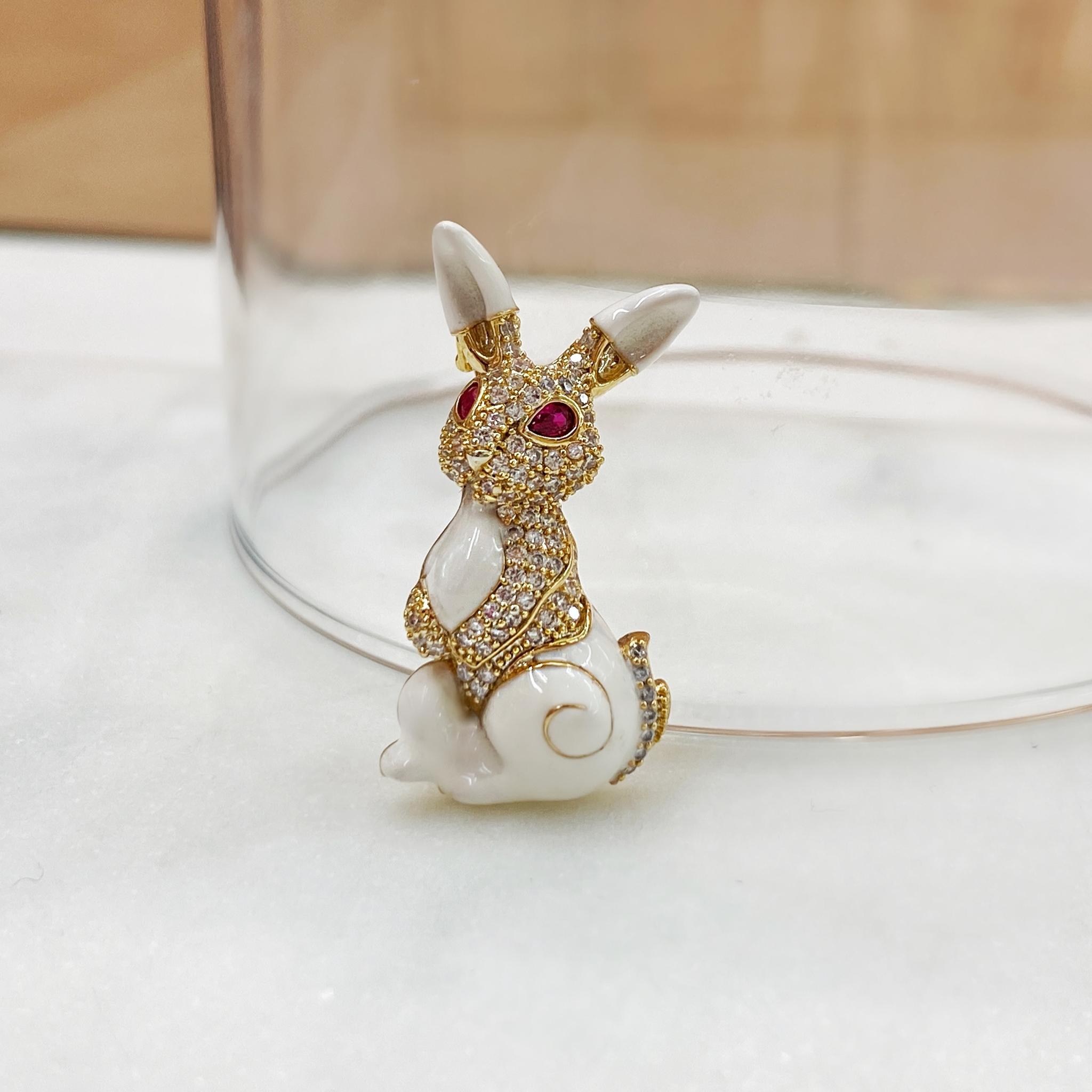 Брошь Циркон Кролик белый эмаль