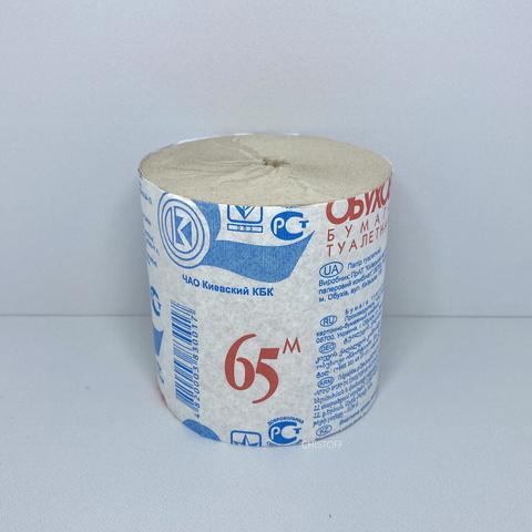 Туалетная бумага макулатурная Обухов 1сл. 65 м серая