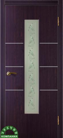 Дверь Валетта (стекло Вьюн) (макассар, остекленная ПВХ), фабрика Зодчий