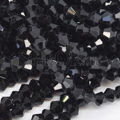 Черные бусины биконусы Jet Black купить в инетрнет-магазине