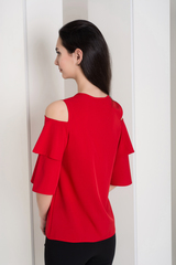 Одрі. Молодіжна блуза з воланами. Червоний