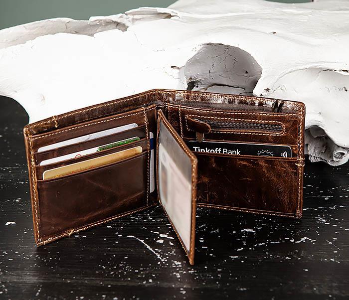 WL329-2 Вместительное мужское кожаное портмоне с монетницей фото 07