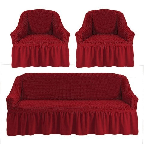 Комплект чехлов для дивана и двух кресел бордо.