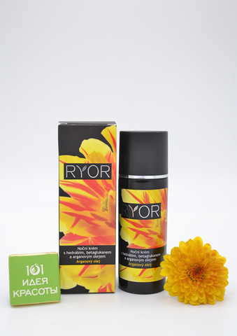 Ryor Ночной крем с аргановым маслом, гидролизованным шелком, ASC III и бета-глюканом (40+), 50мл