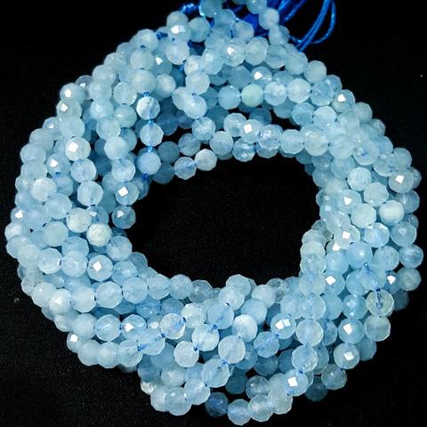 Бусины аквамарин A граненый 4,5 мм цена за 43 бусины (~19 см)