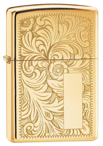 Зажигалка Zippo №352B с покрытием High Polish Brass, латунь/сталь, золотистая, глянцевая, 36x12x56 м123
