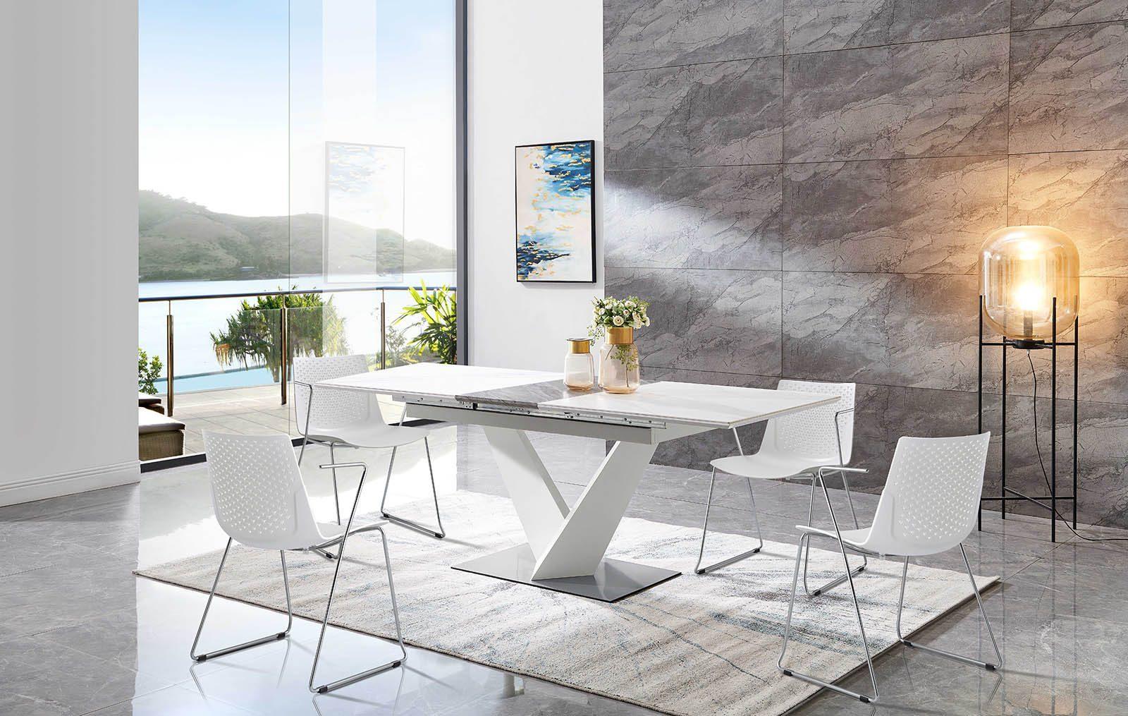 Стол EDT-CS01 серая керамика и стулья FX-05F белые