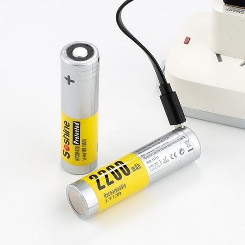 Аккумулятор 18650 SoShine 2200mAh с защитой и ЗУ от microUSB (Li-ion)