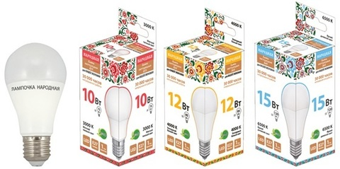 Лампа светодиодная НЛ-LED-A60-12 Вт-230 В-3000 К-Е27, (60х108 мм), Народная