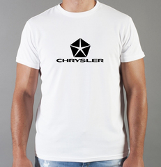 Футболка с принтом Chrysler (Крайслер) белая 008