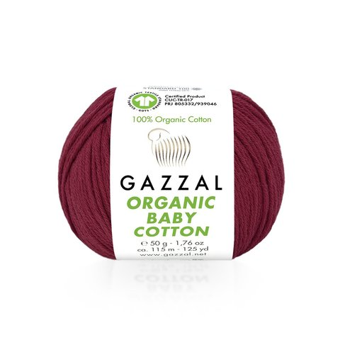 Пряжа Gazzal Organic Baby Cotton 429 бордо