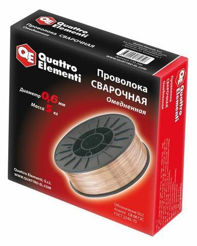 Проволока сварочная QUATTRO ELEMENTI  омедненная,  0,6 мм, масса 5,0 кг (770-346)