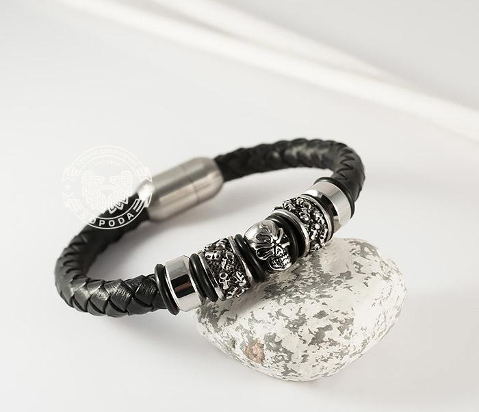 BM373 Мужской браслет с черепом из стали и кожаного шнура, магнитная застежка (21 см) фото 07