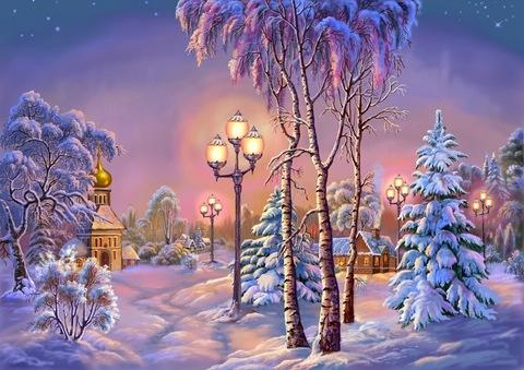 Картина раскраска по номерам 40x50 Закат зимой