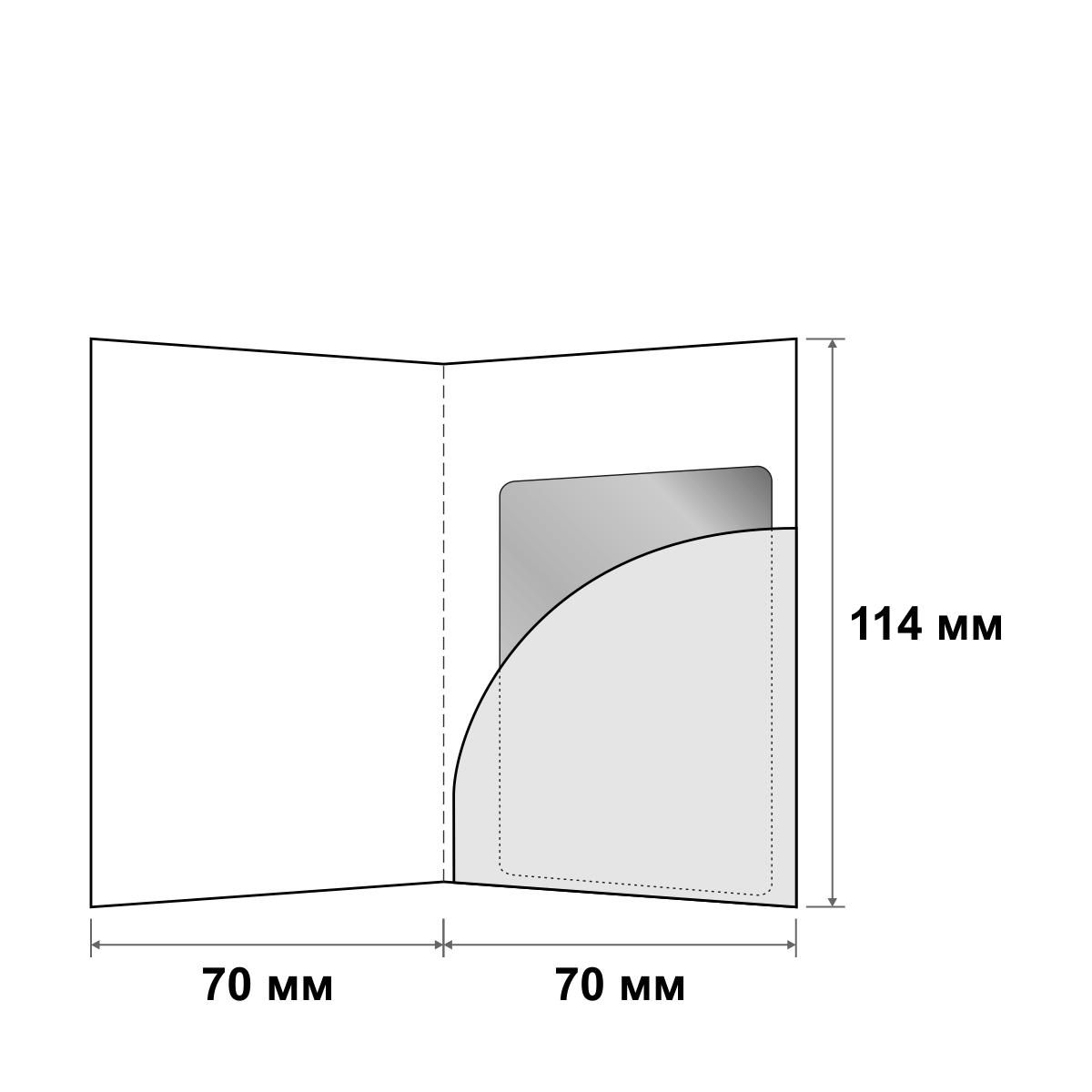 Картхолдер с правым овальным карманом 70x114 мм