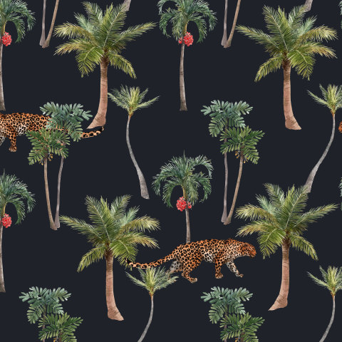 Пальмы и леопард