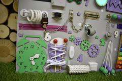 Бизиборд интерактивный 50х65 см фиолетово-мятный
