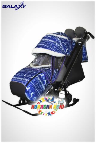 Санки коляска GALAXY KIDS 1-2 «скандинавия - зимняя ночь»