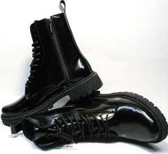 Стильные женские ботинки на шнурках без каблука зимние Ari Andano 740 All Black.