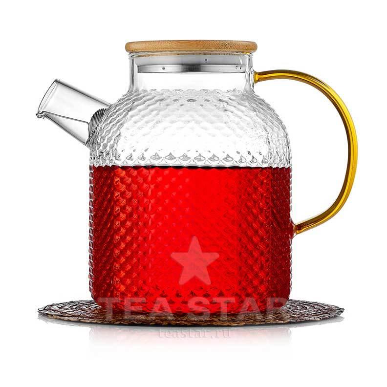 Чайники заварочные стеклянные Заварочный чайник стеклянный 1,2 литра из рельефного стекла с бамбуковой крышкой и желтой ручкой zavarochniy_chaynik_1-102-1200-teastar.jpg
