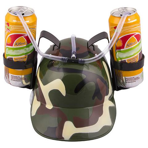 Каска с подставками под банки пива «Камуфляж»