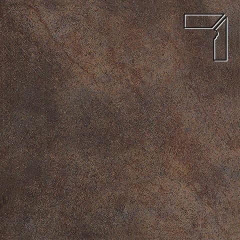 Interbau - Nature Art, Lava schwarz/Серо-коричневый, цвет 118 - Клинкерный плинтус ступени правый