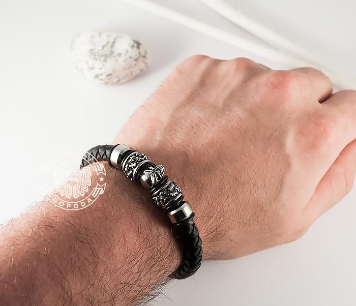 BM373 Мужской браслет с черепом из стали и кожаного шнура, магнитная застежка (21 см) фото 08