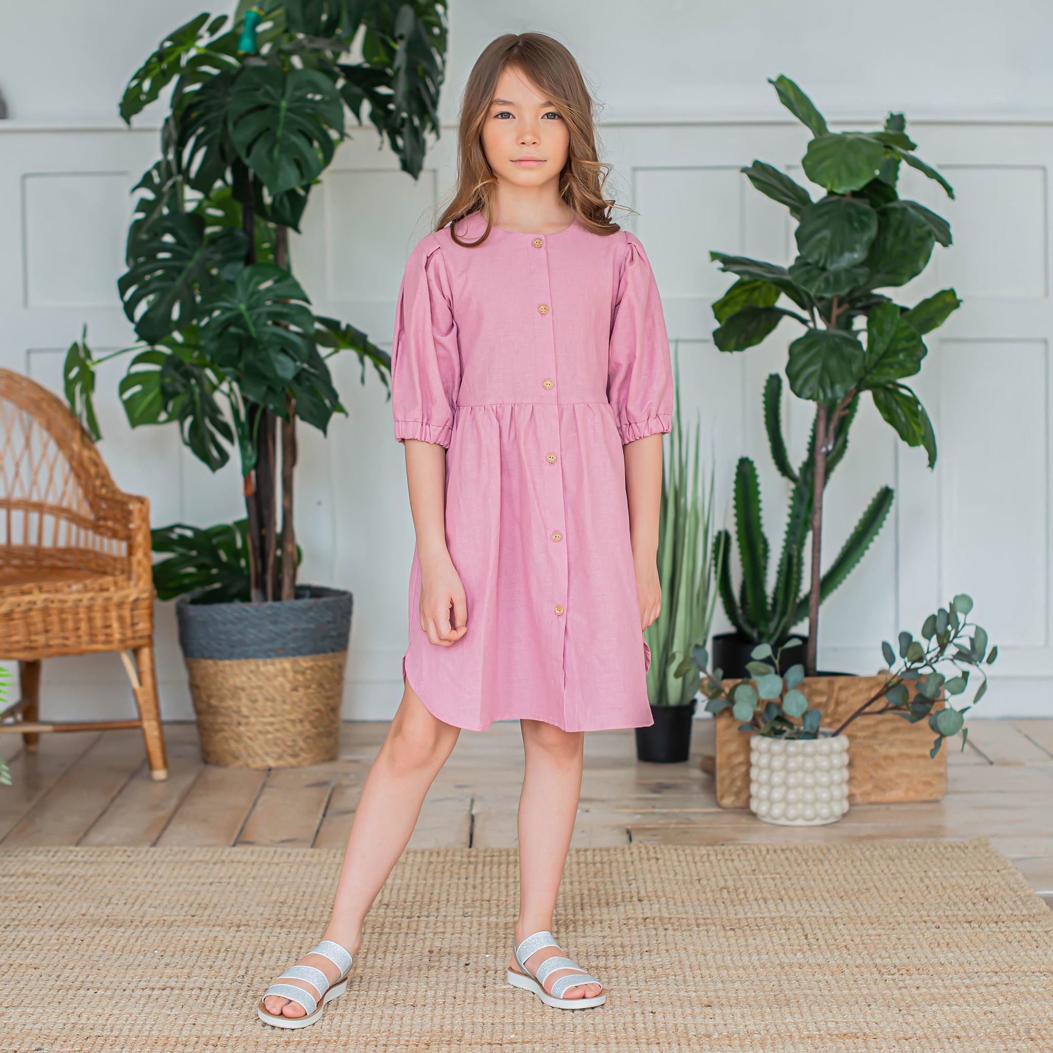 Cotton shirt dress for teens - Peony