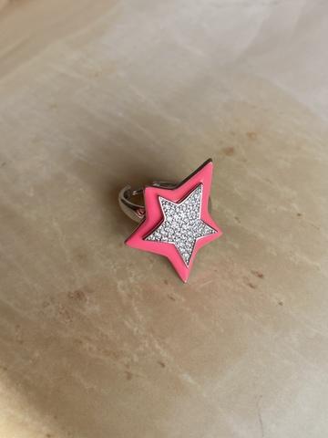 Кольцо Звезда розовое, серебро