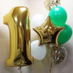 Воздушный шар (40''/102 см) Цифра, 1, Золото, 1 шт.  Шар (40''/102 см) Цифра, 1, Золото, 1 шт.