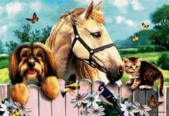 Картина раскраска по номерам 40x50 Животные у забора