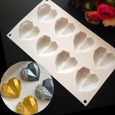 Силиконовая форма для выпечки Сердечки-кристалл (пирожные 6х6см) 8в1