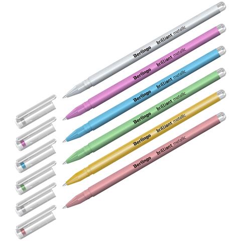 Berlingo Brilliant Metallic набор гелевых ручек c эффектом металлик 0.8 мм - 6 цветов
