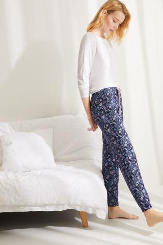 Довгі штани з бавовни з квітковим принтом